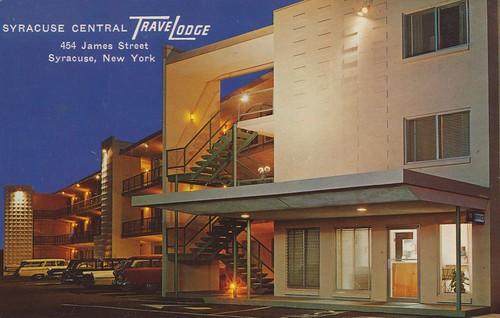 newyork vintage postcard motel syracuse travelodge