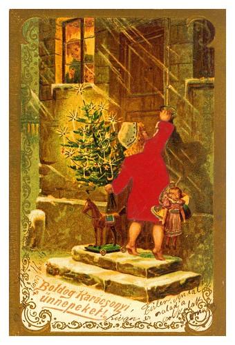 012-Tarjeta de Navidad Hungria 1896-Taringa