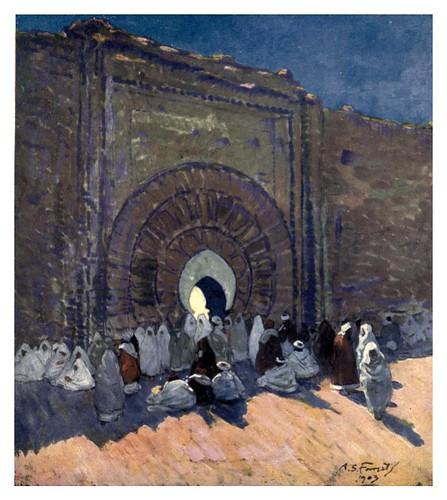 021-Una puerta de entrada en la ciudad de Marrakesh-Morocco 1904- Ilustraciones de A.S. Forrest