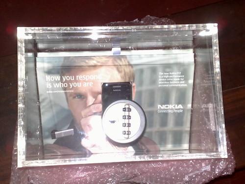 The Perspex BOX containing the Nokia E72
