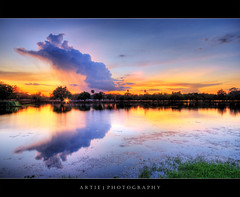 God's Left Hand | The Cambodia Sunset :: HDR (Artie | Photography :: I'm a lazy boy :)) Tags: sunset reflection water clouds photoshop canon landscape cambodia cs2 dusk tripod wideangle angkorwat 1020mm siemreap hdr artie angkorvat 3xp sigmalens photomatix tonemapping tonemap 400d rebelxti