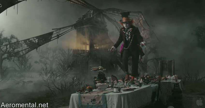 Alice in Wonderland mad Hatter walking on the tea table