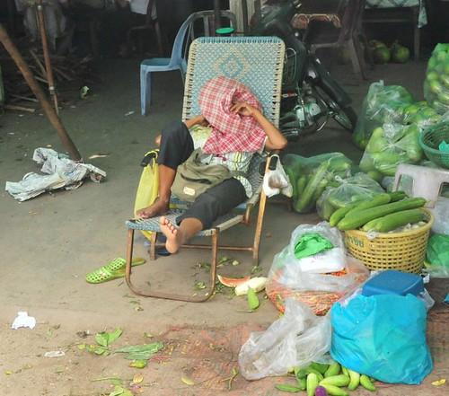 One tired vegetable seller
