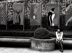 The Wait (legends2k) Tags: leica blackandwhite girl monochrome lumix zoo solitude alone chinese taiwan lass gal wait taipei dame maiden taiwanese anxious agitated restless pansonic writeup henryvandyke fz18 panasonicdmcfz18