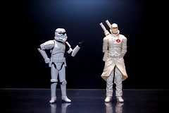 Stormtrooper vs. Storm Shadow (1/365) (JD Hancock) Tags: favorite trooper black reflection movie fun gijoe toy actionfigure star starwars interesting action cc day1 figure scifi stormtrooper duel wars 365 5k 1k theotherside nogeo stormshadow inkitchen galleried jdhancock duel365