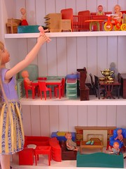 Let's Play House (raining rita) Tags: usa kitchen vintage toys bathroom miniature bedroom fireplace heaven dolls furniture tricycle best diningroom crib dollhouse renwal turquoiseandred aplascotoy