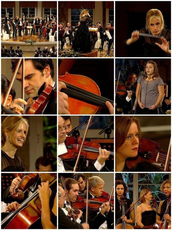 Inma Shara e a Sinfónica Checa en Mondariz Balneario (fotogramas Televisión de Galicia)