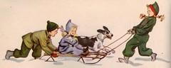 Taking Flip and Frisky for a ride ill by Meg Wohlberg (katinthecupboard) Tags: winter dog snow cat sled childrenplaying vintagechildrensbooks megwohlberg wohlbergmeg