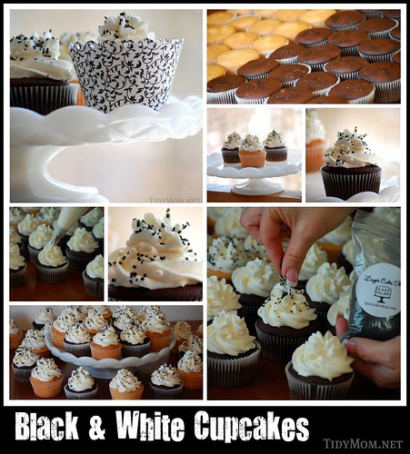 Black & White Cupcake collage