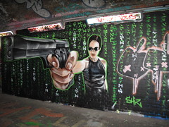 Trinity Matrix graffiti (duncan) Tags: graffiti matrix thematrix trinity gun shiz carrieannemoss cool mrshiz girl