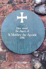 Photo of church of St Matthew the Apostle green plaque