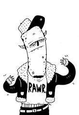 RAWR (TheGrossUncle) Tags: urban blackandwhite art hat monster illustration pen design flickr graphic image cartoon jacket rawr marker caricature beast sharpie creature apparel ferocious dollarsign linework characterdesign grantgilliland thegrossuncle