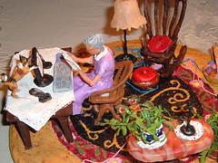 Modern Woman by S.M.Mohler (smmart937) Tags: cats women folkart miniatureart computers antiques rockingchairs oldtime oldladies miniart origionalart folkartsculpture minaturesculpture