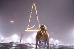 shepherd girl of the afterworld (yyellowbird) Tags: selfportrait snow girl fog night silver lights triangle parkinglot cari sparkly