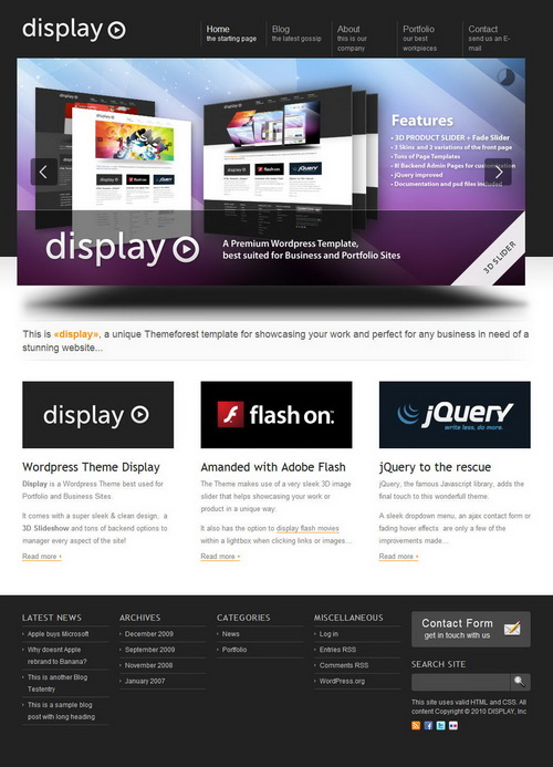 Display 3 in 1   Business & Portfolio Wordpress
