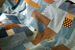 leon's quilt top (leslie.keating) Tags: blue original brown modern quilt handmade linen contemporary cotton quilting patchwork