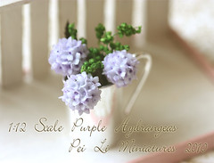 Dollhouse Miniature 1/12 Scale Purple Hydrangeas