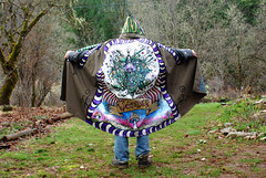 Wonder in his Green Man coat (lucidRose) Tags: mushroom oregon cloak wolfcreek greenman radicalfaerie fabricpaint lucidopticlab