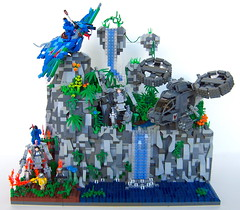 Expanded Avatar Battle Scene (Imagine) Tags: toys hawaii waterfall rocks lego display avatar flames bricks honolulu minifigs flamethrower samson navi legostore floatingrock battlescene ikran imaginerigney ampsuit
