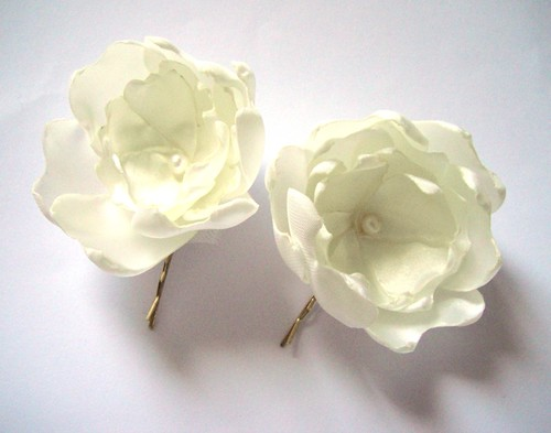 cream white peony blossom wedding flower hair pins (2 pieces)
