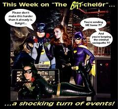 "BATMAN, BATGIRL, AND CATWOMAN (TIMES 3) IN ""THE BAT-CHELOR"" (DarkJediKnight) Tags: batcave humor 1966 bachelor batman batgirl dccomics superheroes catwoman julienewmar adamwest earthakitt yvonnecraig selinakyle leemeriwheter"