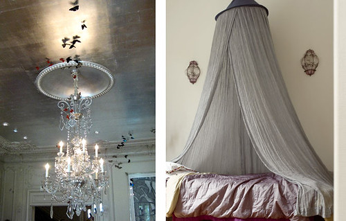 chandelier - butterflies - bed