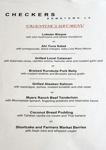 Checkers' Valentine's Day Menu