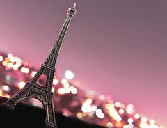 Faux Paris (michaeljosh) Tags: longexposure pink paris france lights nightshot bokeh eiffeltower scalemodel cityoflights project365 explored tamron1750mmf28 nikond90 fauxparis parissouvenir michaeljosh