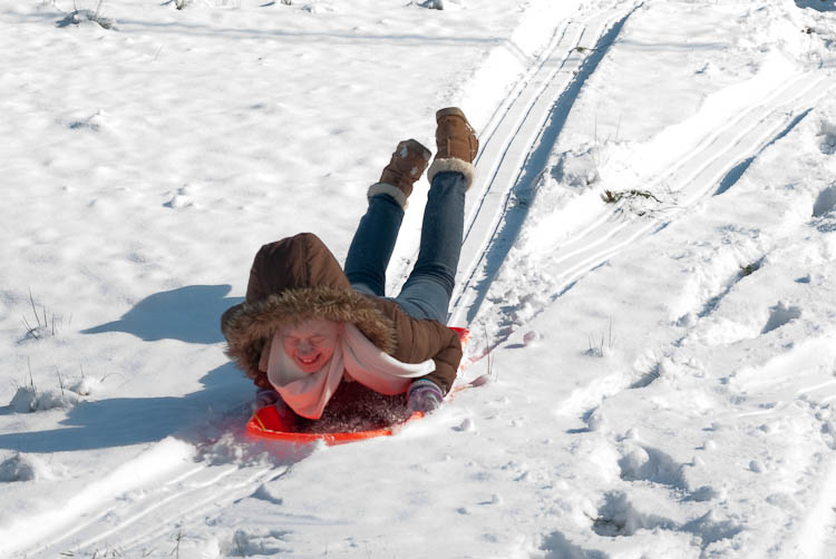 Lindsey sledding
