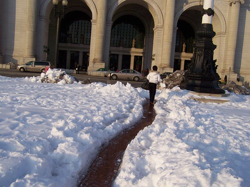 Union Station doesn't clear the snow in the plaza in the front of the building