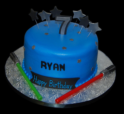 7th Birthday stars and light sabers cake