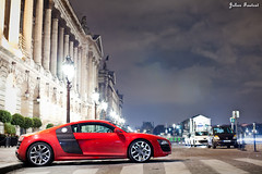 Audi R8 V10 (Valkarth) Tags: street red paris france cars night canon rouge photography eos 50mm noche julien automobile europe mark f14 spot voiture ii coche 5d audi rosso julius nuit f28 mk v10 mkii markii r8 valk spoting 5d2 5dii valkarth fautrat