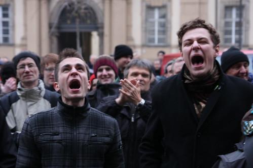 Demonstrace nebyla ochuzená i hlasité protesty.