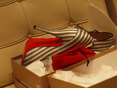 Red-Soled (virginiapoet) Tags: red fashion rouge rojo shoes newshoes heels sole rosso soles highheeledshoes christianlouboutin louboutin blackstripes blackstriped talonshauts tacchialti redsoledshoes christianlouboutinshoes frenchshoes redsoled blackstripedshoes