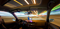 Perfecting the driving shot (Mazda6 (Tor)) Tags: auto 2001 motion ex car speed honda drive movement driving traffic action trails fisheye civic inside interstate streaks