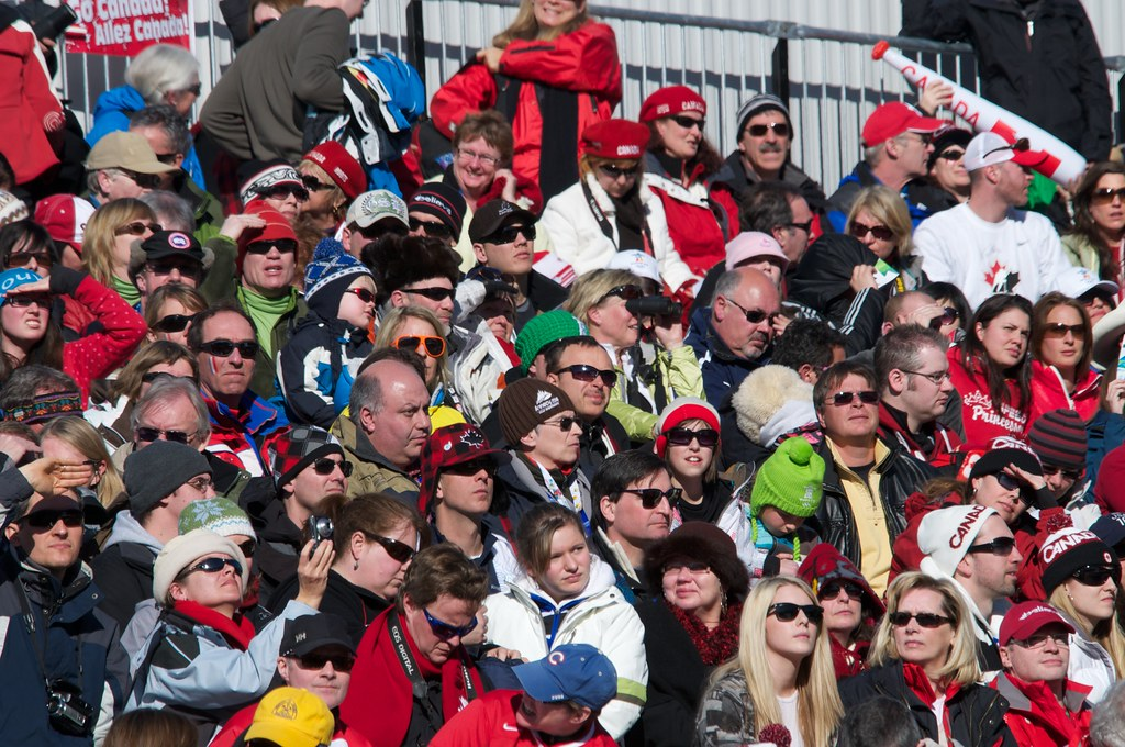 Fans in the Grand Stand Women's Super G at Whistler Creekside