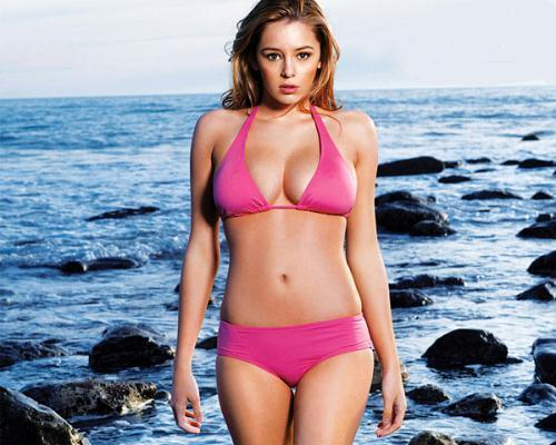 Keeley Hazell in pink bikini