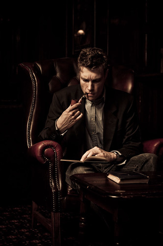 Man in a reading chair