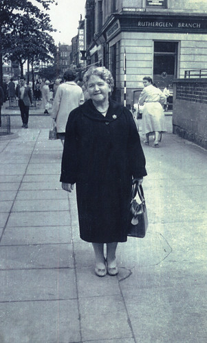 Mrs Leighton, shopping, Main Street, Rutherglen, 1960s.
