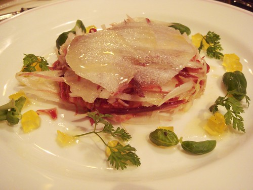 Chicory, Pear And Cured Ham Salad with Olive Oil Jelly Cubes, Almonds and Olive Oil dressing