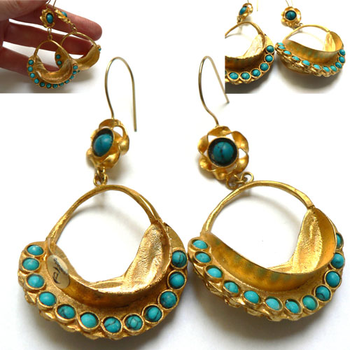 Pebble London Gold Plated, Turquoise Curled 'Star Fruit' Earrings