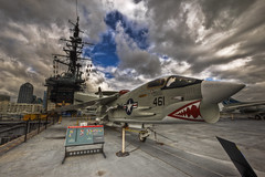 F-8 Crusader, USS Midway (x-ray tech) Tags: california cloud museum marina canon eos bay harbor different sandiego cloudy unique aircraft military details tripod bracket navy dramatic overcast maritime historical 5d aircraftcarrier midway polarizer naval f8 crusader carrier hdr warship seaportvillage circularpolarizer markii harbordrive ussmidway fighterjet photomatix f8crusader 1635l ef1635mmf28l enhancer platinumphoto adobephotoshopcs4 100commentgroup canoneos5dmark2 doublyniceshot tripleniceshot mygearandmepremium dblringexcellence
