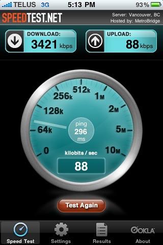 HSPA speed test