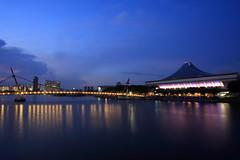Singapore Indoor Stadium (A Sutanto) Tags: bridge blue reflection building water architecture night lights evening bay twilight singapore asia long exposure dusk hour southeast sg kallang tanjongrhu tjrhu