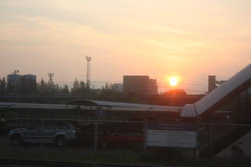 Sunrise seen from the Chiang Rai to Bangkok Train