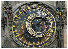 Astronomical Clock (Astronomical Dial), Prague, Czech Republic (Grufnik) Tags: old city sculpture moon clock statue stone sunrise bag square landscape geotagged death gold star mirror solar town hall stand ancient republic czech prague time gothic vanity dial praha medieval revolution stare jew tropic mean turban 2008 turk greed equator daybreak capricorn astronomical republika heathen star mesto orloj prask 1410 prazsky esk ecliptic siderial geo:lon=14420714 geo:lat=50086987