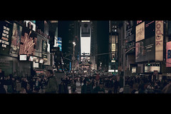 Advertainment Square (- Loomax -) Tags: street people urban newyork night manhattan crowd timesquare cinematic cinemascope