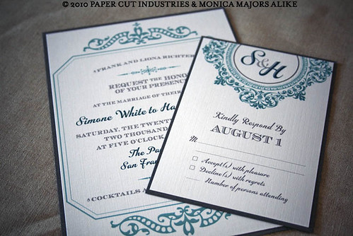 Past Tense: Ornate Wedding Invitation with backer card layering in blue and grey