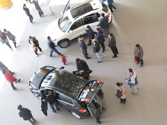 Aerial Shot of Car Buyers Chinese Shopping Mall