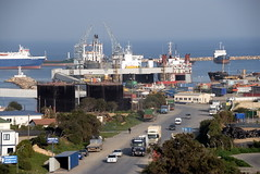 TRUCKING IN CYPRUS (Claude  BARUTEL) Tags: sea truck turkey island boat mediterranean harbour transport cyprus partition divided trucking containers scania daf famagusta